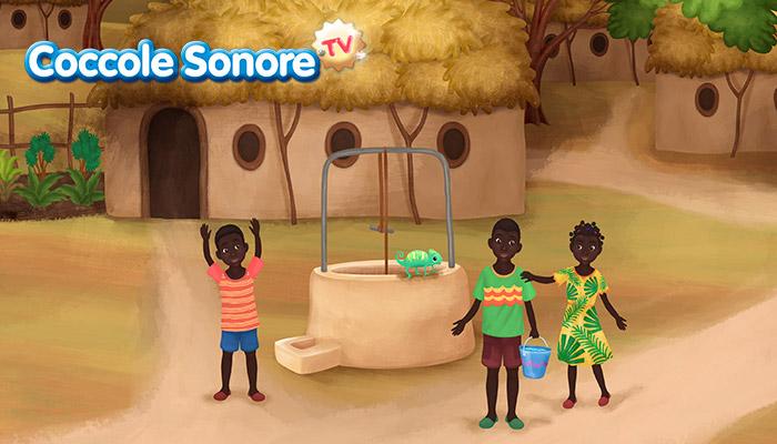 disegno di pozzo con camaleonte e bambini neri intorno, villaggio africano, coccole sonore