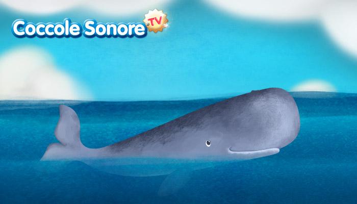Disegno di una balena in mezzo al mare, Coccole Sonore