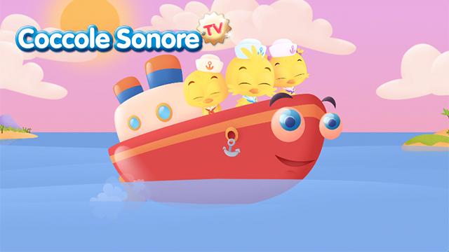 Disegno di barchetta in mezzo al mare con tre pulcini, Coccole Sonore