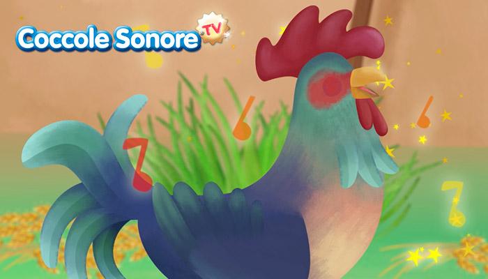 Disegno di gallo che canta, coccole sonore