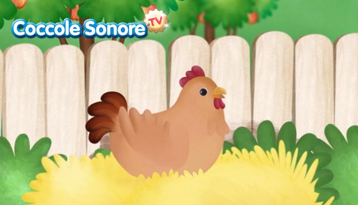 Disegno di gallina appollaiata, coccole sonore