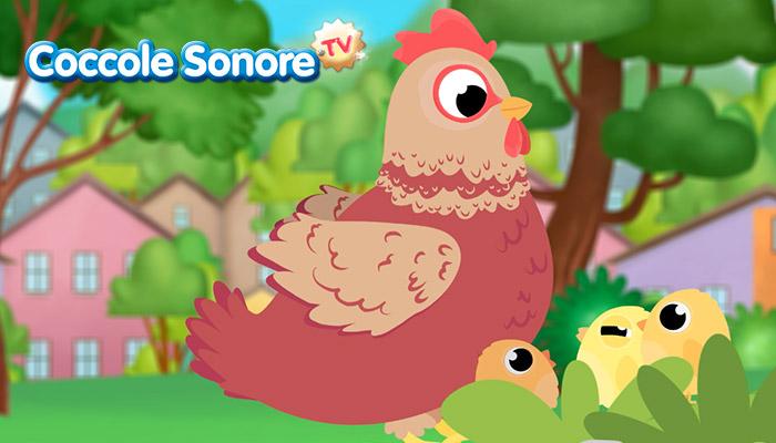 Disegno di gallina con i pulcini, Coccole Sonore