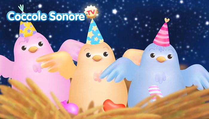 Disegno di nido con tre uccellini in festa svolazzanti, Coccole Sonore