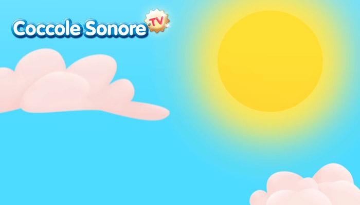 Disegno di cielo con sole e nuvole, coccole sonore