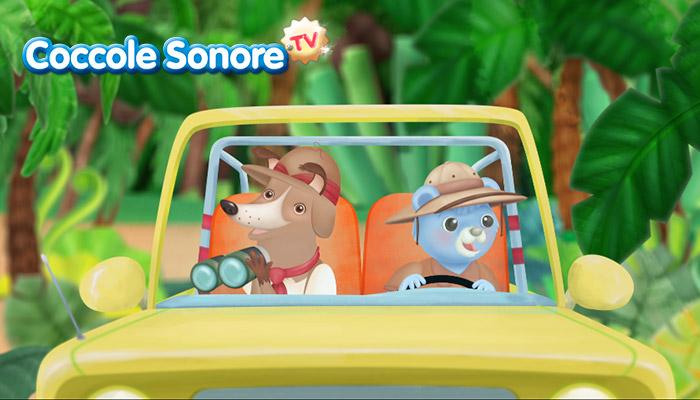 Disegno di cane esploratore e orsetto alla guida in auto, coccole sonore