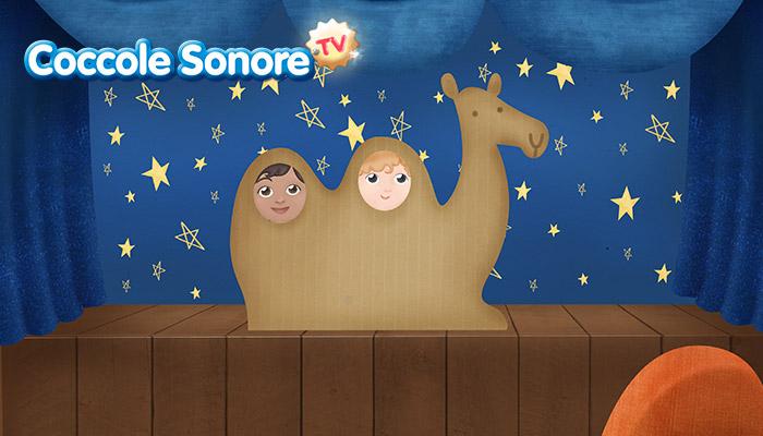 Disegno di teatrino con sagoma di cammello e visi di bambini inseriti sulle gobbe, Coccole Sonore