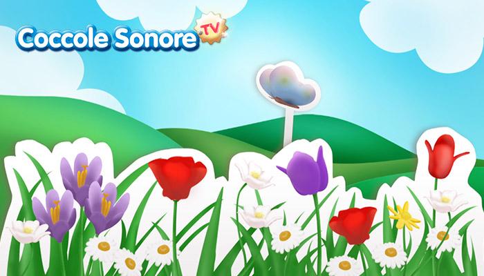 Disegno di campo di fiori dove spicca una farfalla, Coccole Sonore