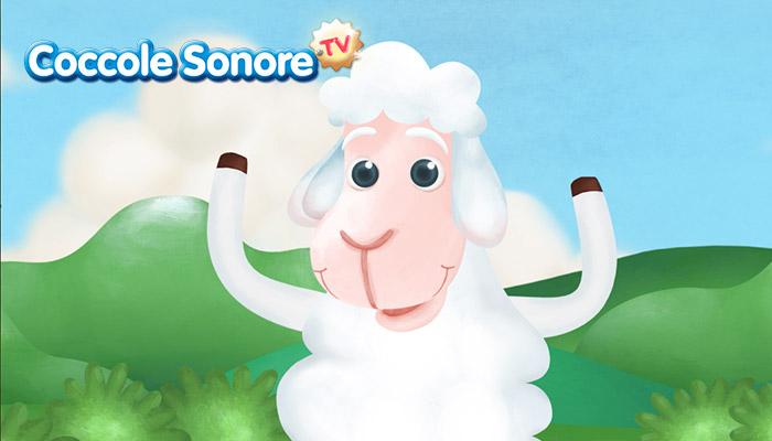 disegno di pecorella sulle zampe, coccole sonore
