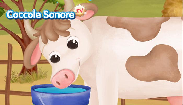 Disegno di mucca che beve dal secchio, Coccole Sonore