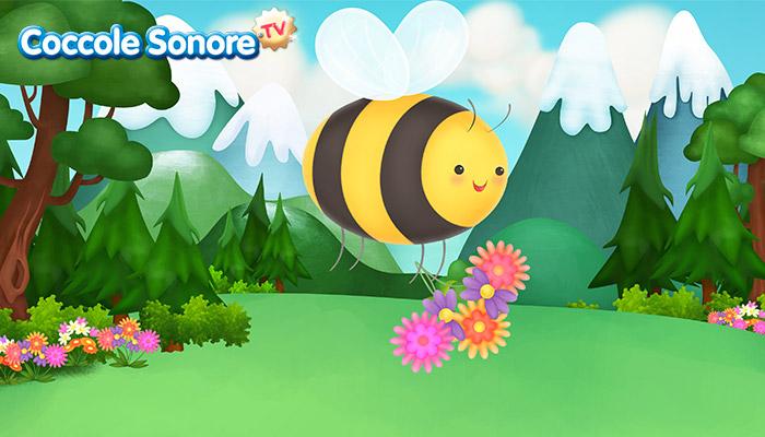 Disegno di ape che porta un mazzo di fiori su paesaggio di montagna, Coccole Sonore