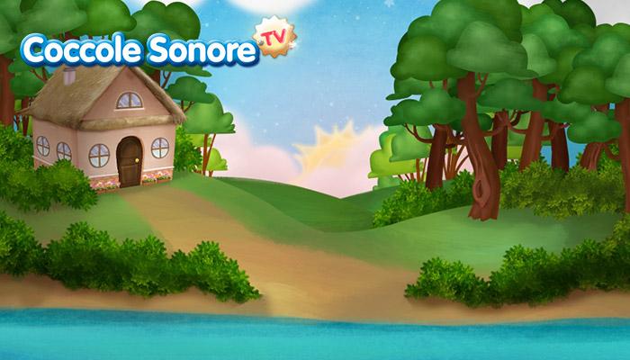 Paesaggio con sole che sorge, casetta in collina, coccole sonore