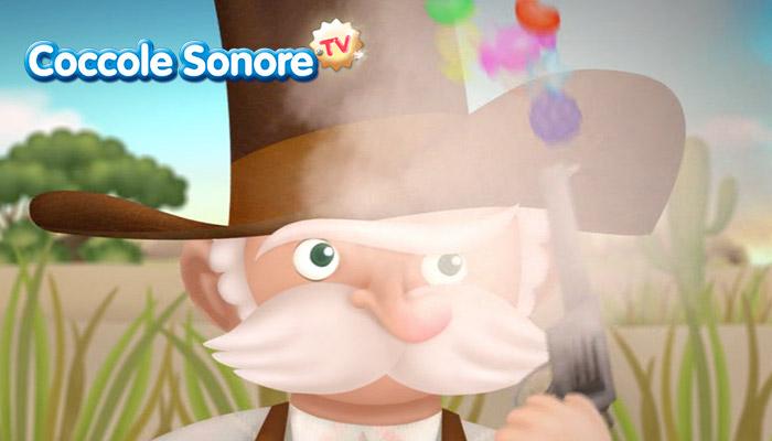 Disegno di vecchio coi baffi e cappello che spara un colpo di pistola ed escono caramelle, Coccole Sonore