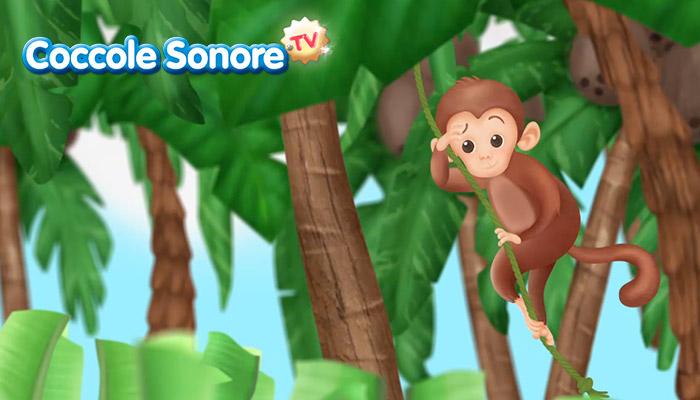 Disegno di scimmia sospesa alla liana tra gli alberi, Coccole Sonore