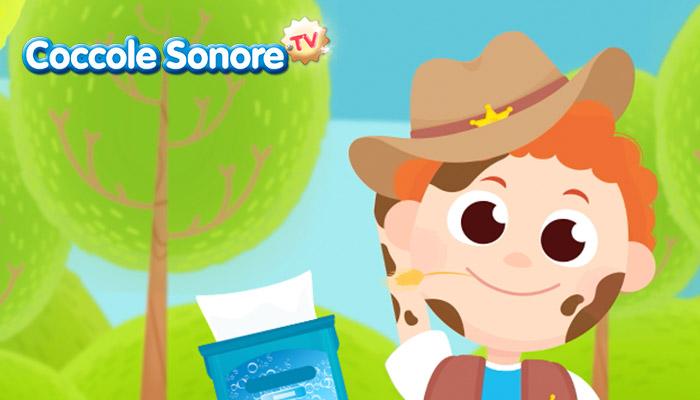 Disegno di bambino sporco con la confezione di salviette per pulirsi, Coccole Sonore