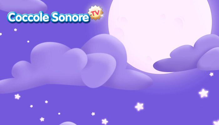 Disegno di cielo stellato con luna e nuvole, Coccole Sonore
