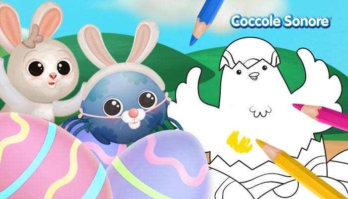 Whiskey il ragnetto mascherato da coniglietto di Pasqua, coniglietto grigio, pulcino che sbuca da un uovo di Pasqua