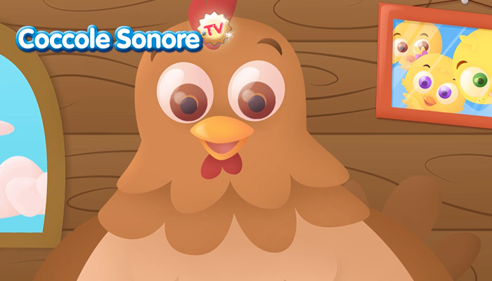 Disegno di gallina in primo piano, Coccole Sonore