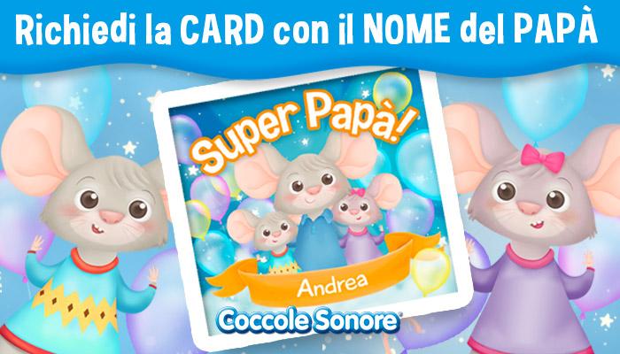 Richiedi la card con il nome del papà, card personalizzata con il nome del papà, famiglia di topolini, Coccole sonore