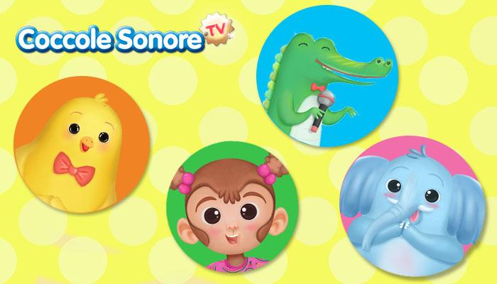 pulcino, scimmia, coccodrillo, elefante disegnati