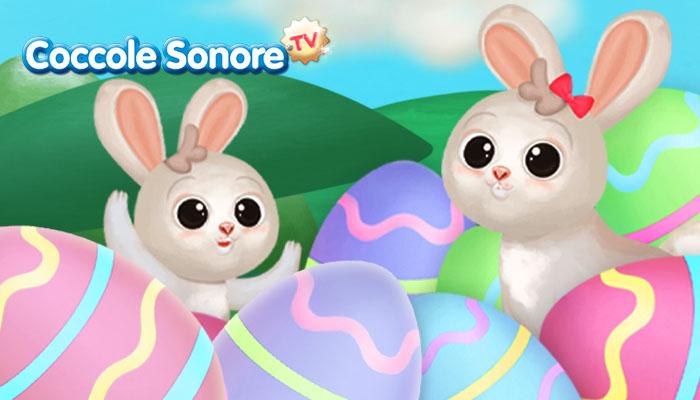 coniglietti e uova di pasqua colorate