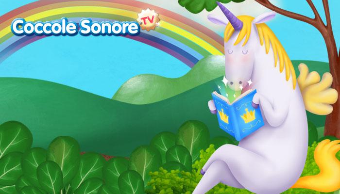 unicorno legge un libro in campagna