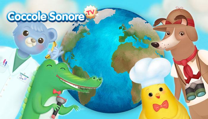 disegno del mondo circondato da animali