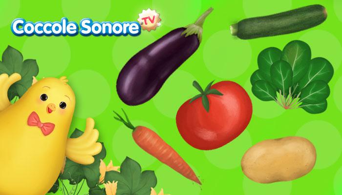 disegni di melanzana, zucchina, patata,pomodoro,spinaci,carota, pulcino
