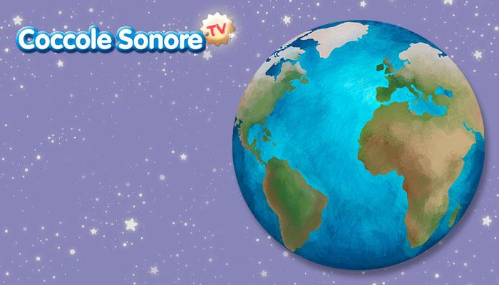 disegno del pianeta terra su ciielo stellato