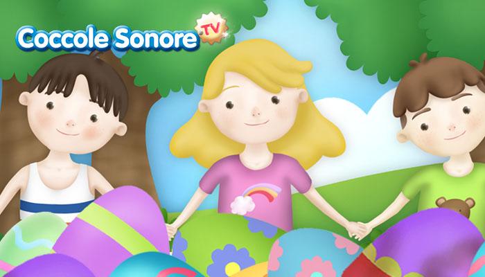 bambino fanno il girotondo con uova di pasqua