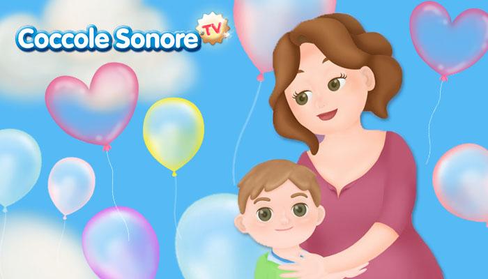 disegno di una mamma che abbraccia un bambino con tanti palloncini colorati