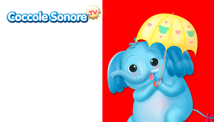 disegno elefante con ombrello su sfondo rosso e bianco