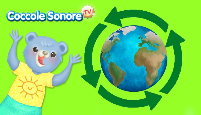 simpbolo frecce del riclo intorno al mondo con disegno di un orsetto
