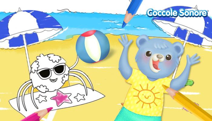 disegno con whiskey il ragnetto al mare che gioca a pallone con un orsetto