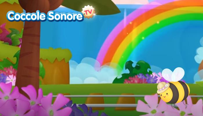 sisegno di una cascata con paesaggio e un'ape sopra i fiori