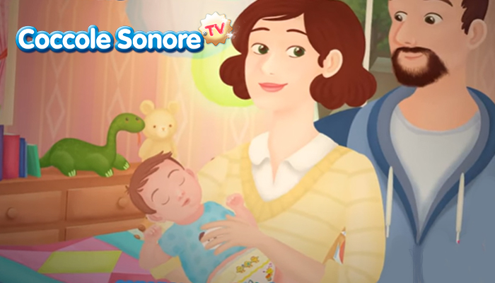 disegno di mamma e papà che tenngono in braccio un bambino