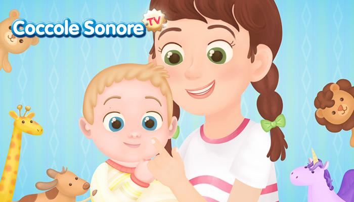 Mamma con bambino che indica il suo occhio, Coccole Sonore
