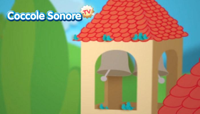 Campana che suona nel campanile con uccellini, coccole sonore