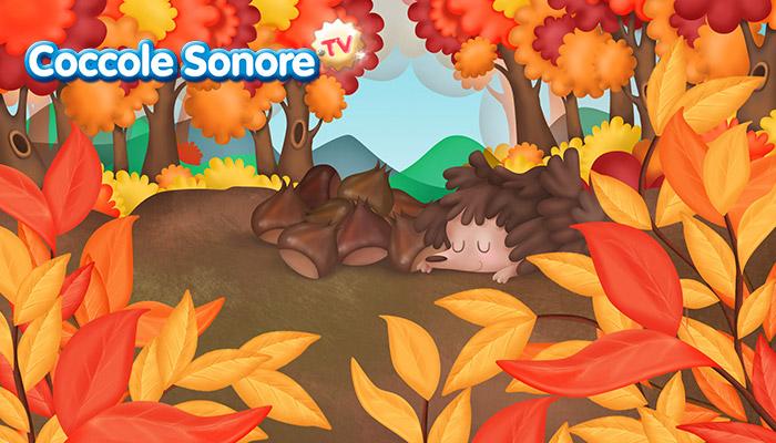 Paesaggio autunnale con foglie secche, riccio e castagne, Coccole Sonore