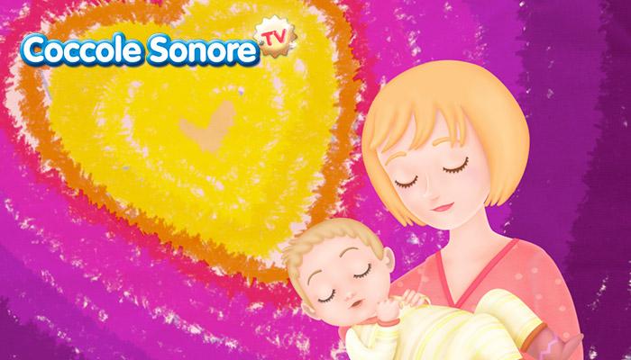 Bimbo tra le braccia della mamma sullo sfondo a cuore, Coccole Sonore
