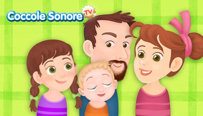 Famiglia con babbo mamma e due figli, Coccole Sonore