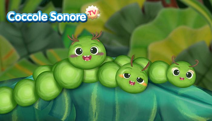 Famiglia di bruchi sulla foglia, Coccole Sonore