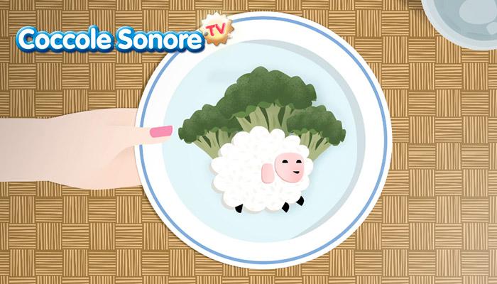 Piatto con pappa per bambini, broccoletti e pecorella di riso, Coccole Sonore