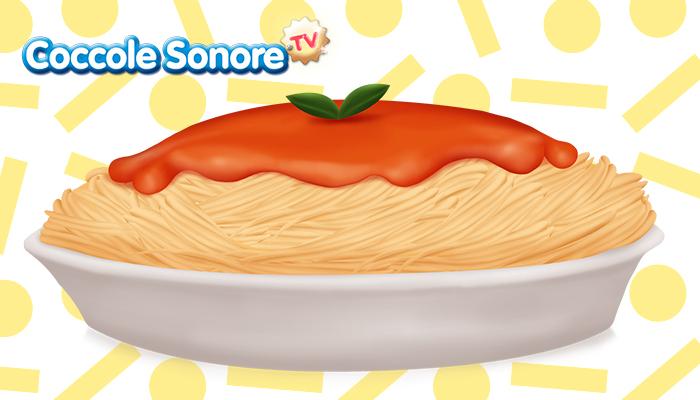 disegno di un piatto di spaghetti al pomodoro e basilico