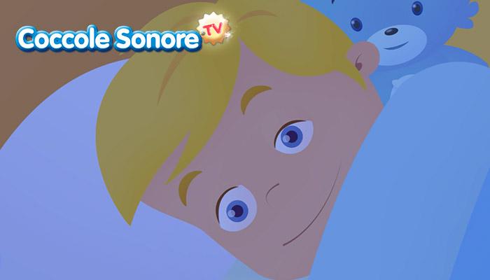 Bambino al risveglio che apre gli occhi, Coccole Sonore