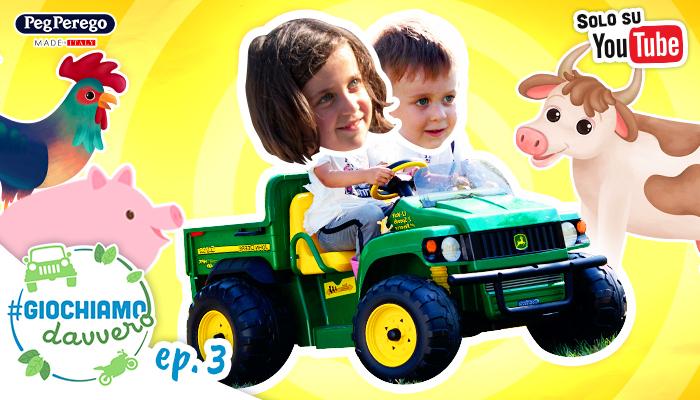 bambini guidano il trattore, intorni disegni di animali della fattoria, web serie giochiamo davvero