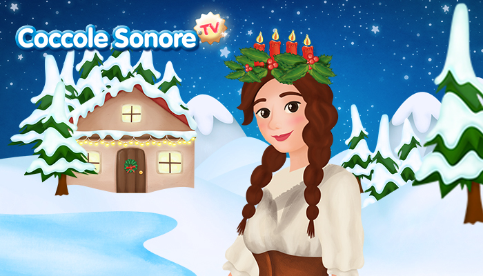 disegno di santa Lucia su sfondo con la neve