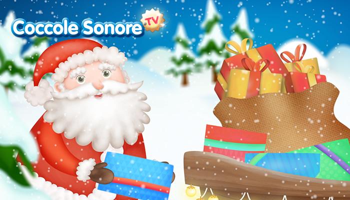 disegno babbo Natale con i mano i regali