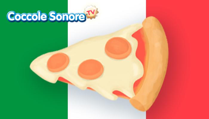 disegno di uno spicchio di pizza con lo sfondo della bandiera italiana