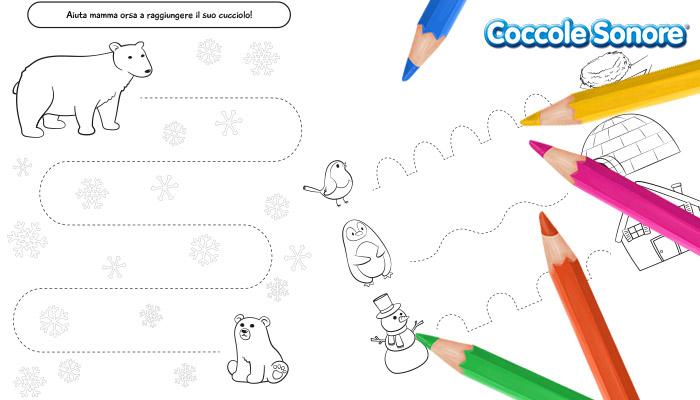 Percorsi di pregrafismo scuola dell'infanzia, inverno, Coccole Sonore