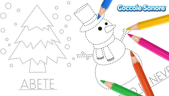 Schede di pregrafismo scuola dell'infanzia, inverno, Coccole Sonore